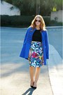 Black-crop-top-blue-coat-floral-pencil-eshakti-skirt