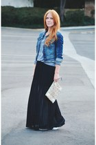 black maxi skirt - denim Mossimo jacket - beaded Jasper & Jeera bag