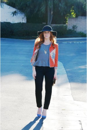 black high waist BDG jeans - orange jacket - gold bag - heather gray peplum top