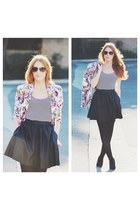 black Elan International skirt - floral blazer - black tights - top