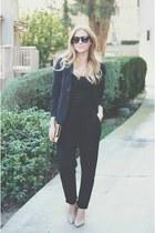black vintage blazer - black tank top - black harem pants - nude shoemint pumps