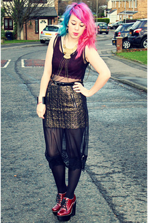 Jeffrey Campbell shoes - mesh dress Topshop dress - Topshop skirt