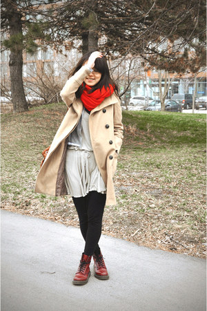 brick red doc martens boots - dark khaki American Apparel dress - tan Zara coat 