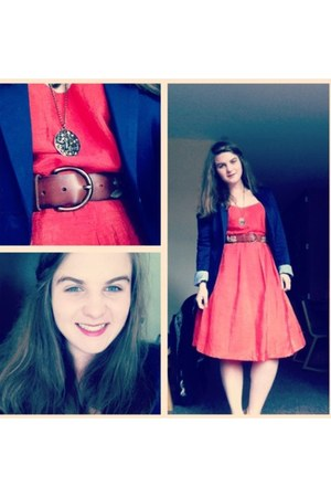 carrot orange dress - navy blazer - dark brown belt - tawny necklace