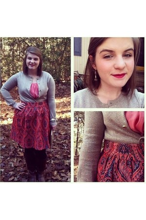 orange Anthropologie skirt - camel New York and Company cardigan