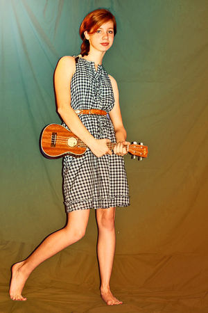 blue Converse dress - brown vintage belt