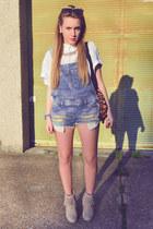 beige goetz boots - white Forever 21 shirt - tawny H&M bag