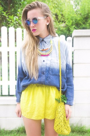 yellow H&M bag - blue Mango shirt - white H&M sunglasses - yellow Zara pants