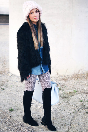 light pink H&M hat - black choiescom boots - black Finders Keepers jacket
