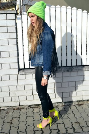 blue pull&bear jacket - yellow asos hoodie - black H&M pants - yellow H&M heels