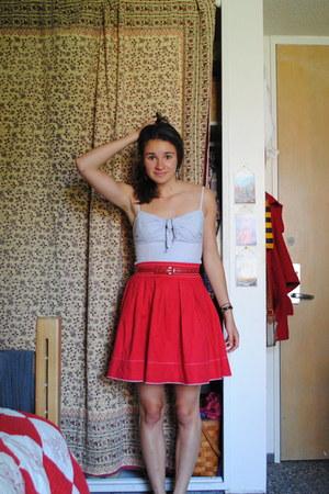 light blue worn as top H&M dress - red thrifted skirt - black Gap flats