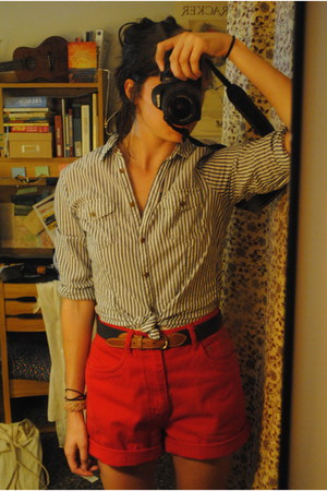 red high-waisted thrifted shorts - light blue striped H&M blouse