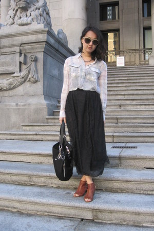 sheer Silence  Noise blouse - beige sunglasses - Jeffrey Campbell sandals