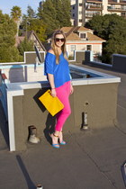 blue unknown shirt - hot pink Zara jeans - yellow Zara bag