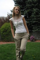 white top - beige Body by Victoria Victorias Secret pants - white accessories