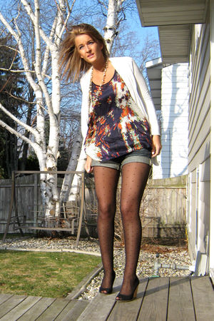 blue Forever 21 top - white Forever 21 cardigan - blue Charlotte Russe shorts -