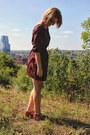 Brick-red-chevron-ruche-dress-tawny-samantha-pleet-wolverine-heels