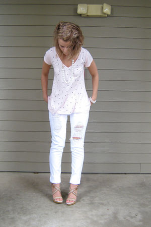 pink Forever 21 top - white distressed Charlotte Russe jeans