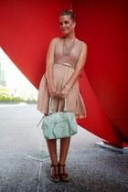 nude dress - light blue bag