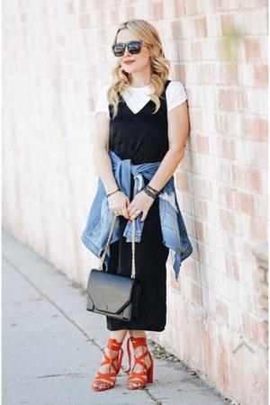 black slip dress H&M dress - blue denim rachel roy jacket