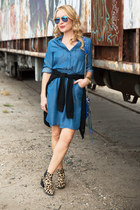 blue denim sammydress dress - dark khaki leopard print Steve Madden boots