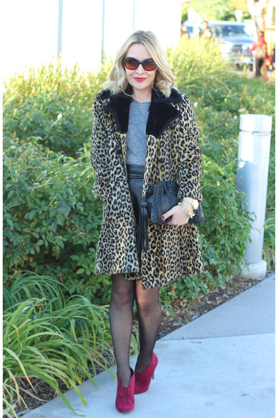 light brown leopard print thrifted vintage coat