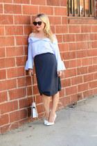 light blue off shoulder zaful top - charcoal gray pencil vivienne westwood skirt