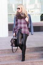 black faux leather HUE leggings - maroon plaid Wayf shirt