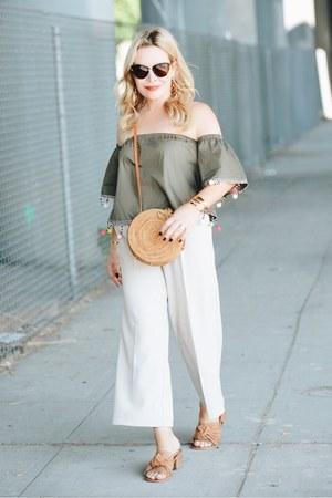 dark khaki pom poms MissyEmpire top - beige culottes Dezzal pants