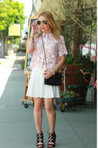peach cropped floral Topshop top - black chain strap Rebecca Minkoff bag