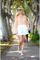 white high-waisted Zara shorts - peach bell sleeved Make Me Chic top