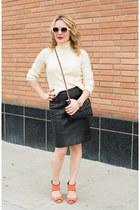off white wool turtleneck DKNY sweater - eggshell oversized Prada sunglasses