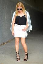 white striped H&M blazer - white white denim JCrew skirt
