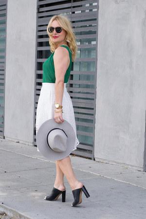 green shell Bebe top - white ann taylor skirt