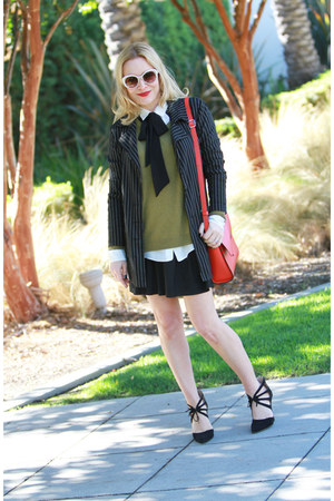 red cross body joy gryson bag - black pinstripe Betsey Johnson jacket