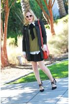 red cross body joy gryson bag - black pinstripe Betsey Johnson jacket