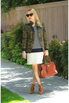 army green camo Zara jacket - brown satchel coach bag - navy striped J Crew top