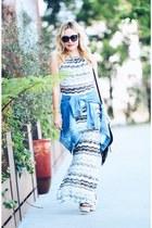 white maxi VacayStyle dress - blue denim rachel roy jacket