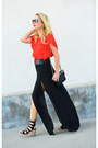 Red-flutter-sleeve-daniel-rainn-top-black-maxi-asos-skirt
