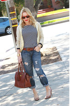 blue boyfriend Charlotte Ronson jeans - navy striped J Crew shirt