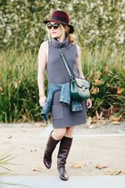 dark green saddle Zara bag - charcoal gray knit Leith dress