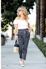 White-off-shoulder-topshop-top-navy-striped-joa-pants
