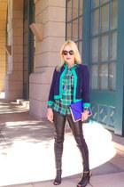 plaid Zara shirt - Ralph Lauren jacket - faux leather Kirne Zabete leggings