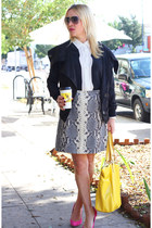 heather gray snakeskin Bespoke skirt - black bomber vintage jacket