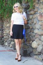 blue cross body Rebecca Minkoff bag - black ruffled thrifted vintage skirt