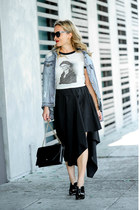 black asymmetrical trouve skirt - off white graphic tee obey shirt