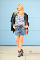 blue denim Rogan skirt - black trench Rosegal coat - navy striped JCrew t-shirt