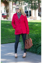 red Mint Julep Boutique coat - white striped JCrew sweater