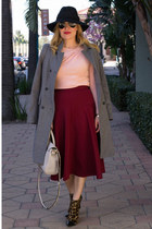 heather gray long Zara coat - peach rusched Valentino sweater