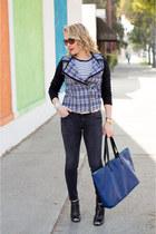 black skinny jeans Zara jeans - blue tweed moto Tinley Road jacket
